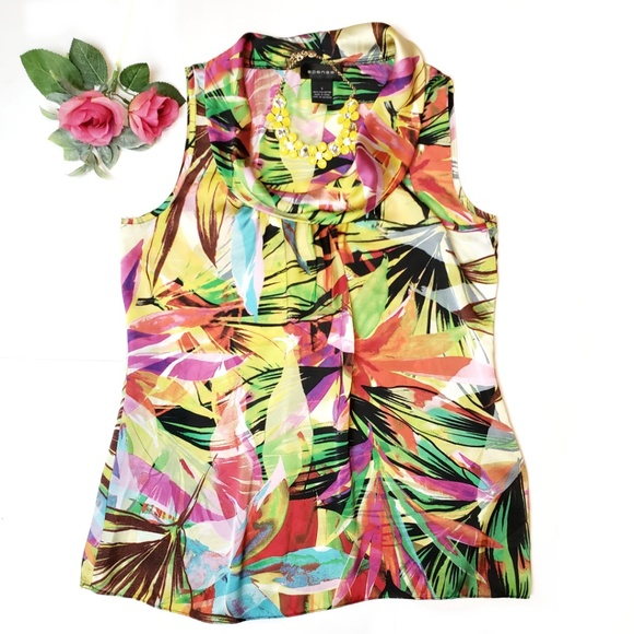 Spense tropical print sleeveless top, S